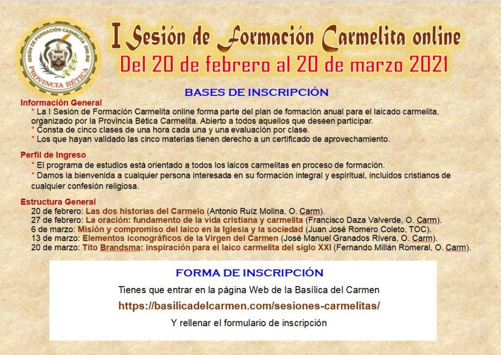 I Sesión de Formación Carmelita online