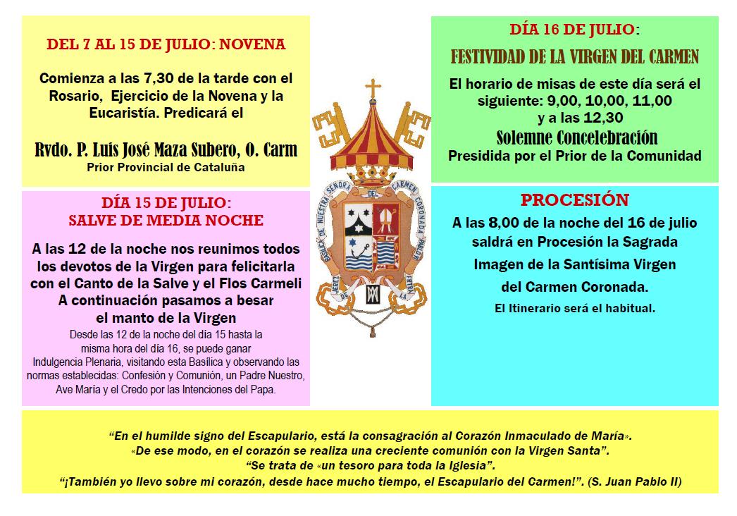 Novena y Festividad del Carmen 2019